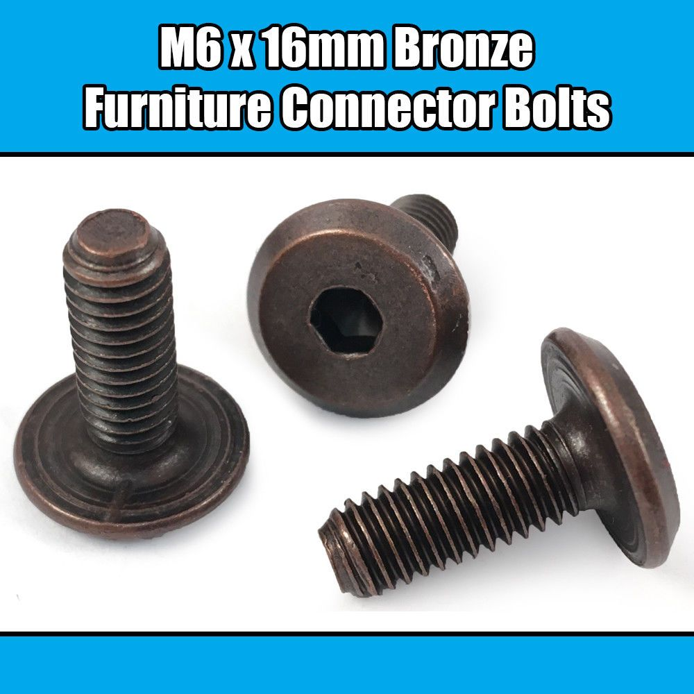 m6 x 16mm bronze furniture connector bolts joint fixing. Black Bedroom Furniture Sets. Home Design Ideas