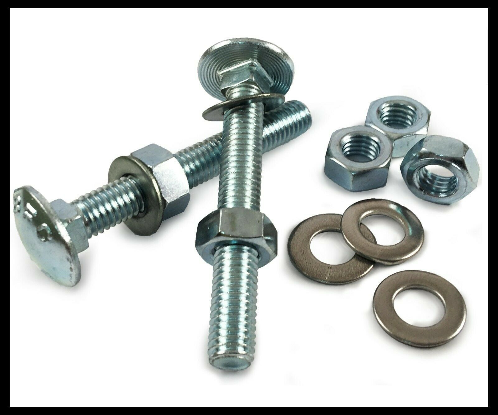 M12 CARRIAGE BOLT COACH SCREW WITH HEX FULL NUTS CUP SQUARE