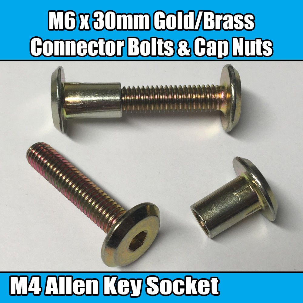M6 x 12mm Furniture Connector Bolts /& Nut Caps Allen Key Head Joint Fixing
