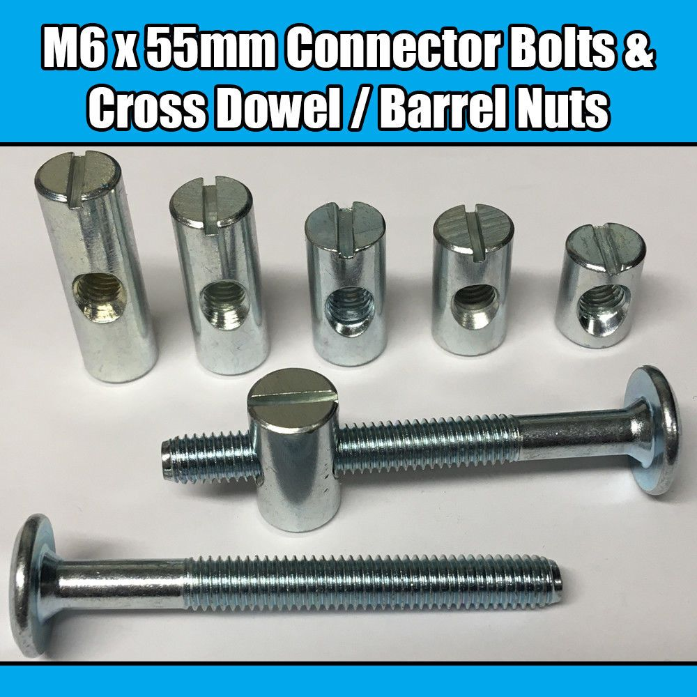 M6 x 12mm Black Furniture Connector Bolts With Cap Nuts Joint Fixing Bed Cot